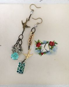 bluesupcycled dangle earrings bird charm connectors by Arey