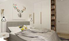 Mieszkanie na Woli Warszawa 54m2 - Średnia sypialnia małżeńska, styl skandynawski - zdjęcie od Grafika i Projekt architektura wnętrz