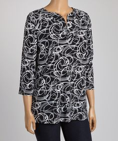 Loving this Black & White Circle Geometric Notch Neck Tunic - Plus on #zulily! #zulilyfinds