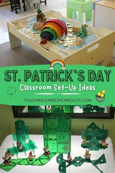 Setting up the toddler and preschool classroom for the St. Patrick's Day theme - lots of shamrocks, rainbows, and color mixing taking place with art, science, dramatic play, blocks, fine motor, sensory, easel, light table, and more! A great resource for early childhood teachers! #stpatricksday #stpatricksdaytheme #stpatricksdayactivities #preschool #toddlers #classroom #rainbow #preschoolactivities #toddleractivities #AGE2 #AGE3 #teaching2and3yearolds Reggio Classroom, Classroom Layout, Classroom Setting, Preschool Classroom, Classroom Themes, Classroom Organization, Preschool Crafts, Spring Activities, Motor Activities