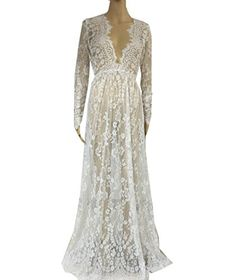 Floral Lace See-though Deep V-neck Long Sleeves Bridesmaid Maxi Dress w/ Necklace *** To view further for this item, visit the image link.