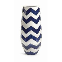 Essentials Marine Blue Chevron Vase - The blue and white chevron pattern on this vase makes a strong statement, whether displayed prominently on the shelf, used to decorate the patio, or filled with a large bouquet of fresh flowers.