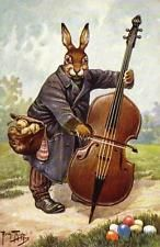 EASTER, RABBIT, BUNNY, PLAYING THE DOUBLE BASS, BY THIELE, MAGNET