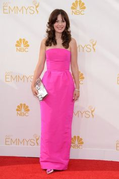 To know me, is to know that I love pink.  Like here on Zooey Deschanel #Emmys2014