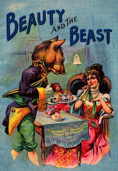Vintage Beauty and the Beast illustration