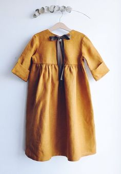 Handmade Mustard Linen Dress With Ribbon | LaPetitePersonneShop on Etsy #KidsFashion