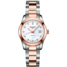 Longines Conquest Classic Mother of Pearl Dial Ladies Watch ($2,350) ❤ liked on Polyvore featuring jewelry, watches, stainless steel jewellery, stainless steel jewelry, skeleton wrist watch, water resistant watches and skeleton jewelry