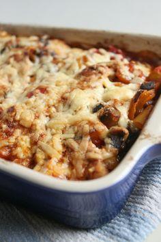 Roasted vegetable enchilada casserole | Amuse Your Bouche. Vegan option: use non dairy cheddar cheese alternative.