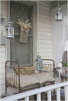 love this vintage crib turned couch