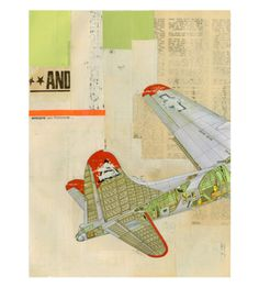 'Model Airplane No.4' by Kareem Rizk (2011)  - Original handmade collage on paper - 28 x 35 cm (11 x 14 inches) - Unframed - Signed on back - Initials and date on front  ABOUT THIS ARTWORK  This one of a kind, handmade collage is constructed from found papers and found imagery. One example of many that is representational of the very distinct nostalgic and ephemeral collage style of Kareem Rizk, who has been cited internationally as a premiere emerging mixed media artist.  The w…
