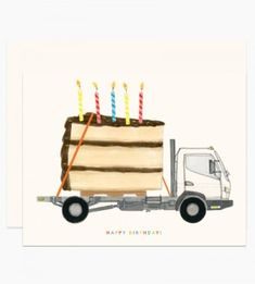 "Illustrated by Dear Hancock. A gigantic piece of cake with sprinkles and candles on a flatbed truck with colorful text that reads ""Happy Birthday"". Kids Birthday Cards, Happy Birthday Images, Happy Birthday Greetings, Birthday Messages, Birthday Quotes, It's Your Birthday, Birthday Cake, Happy Birthday Boy, 5th Birthday"