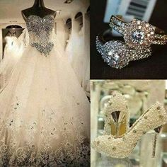 Wedding Dress Ring Shoes All Blinged Out Fairytale Weddings Cinderella