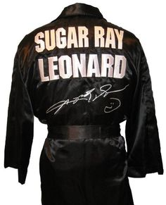 Purchase Sugar Ray Leonard Signed Robe – Autographed Boxing Robes and Trunks at Discounted Prices ✓ FREE DELIVERY possible on eligible purchases. Sugar Ray Leonard Signed Robe – Autographed Boxing Robes and Trunks Nfl Football, Baseball, Where To Sell, Famous Faces, Motorcycle Jacket, Trunks, Menswear, Sugar, Sports