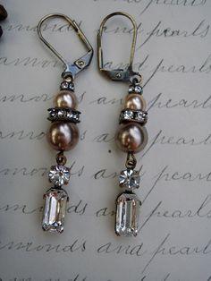 Diamonds and Pearls Vintage Repurposed Earrings