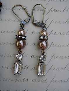 Diamonds and Pearls Vintage Repurposed Earrings...these are so pretty