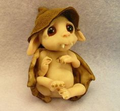 A little baby Vampire bat  original polymer clay sculpture OOAK by Trolltracks. $30.00, via Etsy.