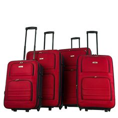 Charlie Sport 4 Piece Set Softside Upright Luggage & - Black or Red (Red) Old Suitcases, Luggage Sets, Traveling By Yourself, Amazon, Sports, Red, Collection, Vacation Ideas, Black