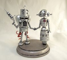 wooden---Robot Wedding Cake Topper Retro Silver with Rocket Pack   by Builders Studio