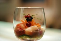"Sous Vide Seafood ""Sunomono"" (Japanese for 'vinvegared things') with Raspberry-Tosazu"