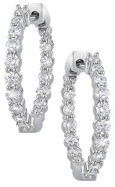 Round Brilliant Ctw Clarity I Color Diamond White Gold Inside Outside Inch Hoop Earrings