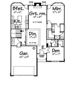 First Floor Plan of Traditional   House Plan 68109