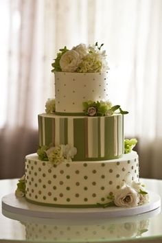 Butter-Frosted Wedding Cake, green and cream, stripes and dots... but as a cupcake tower?