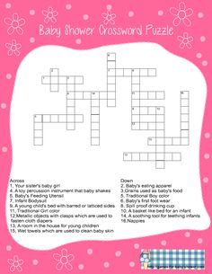 free printable baby shower crossword puzzle game in pink color