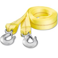 Its important to know the difference between a tow strap and a recovery strap (or snatch strap). Pictured is a tow strap- its not stretchable and is not meant for rapidly yanking a stuck vehicle out. The metal hooks can fracture and send dangerous debris flying. A recovery strap is springy and has no metal hooks.