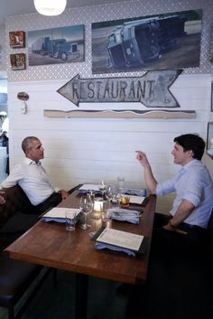 These 2 men exemplify  leadership: class.education. innovation.public servant at its highest.  Obama-Trudeau Dinner At Montreal's Liverpool House, June 6, 2017.
