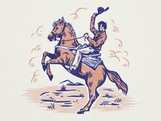 Vintage Cowboy by Matt Carlson on Dribbble Cowboy Tattoos, Western Tattoos, Cowboy Horse, Cowboy Art, Cowgirl Tuff, Zine, Le Far West, Western Art, Grafik Design