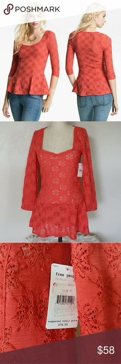 NWT🍁FREE PEOPLE🍁 Daisy Pointelle Top Size medium Color: persimmon  (reddish orange) Fitted with a lil stretch to it, not alot.  So adorable and perfect for fall  Bundle with another item from my closet for a private offer 😊  No Trades 😊 Free People Tops Blouses
