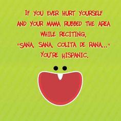 """If you ever hurt yourself and your mama rubbed the area reciting, ""Sana, sana, colita de rana."" You're Hispanic. Funny Mexican Quotes, Mexican Jokes, Mexican Funny, Puerto Rico, Latina, Hispanic Jokes, Funny Jokes, Hilarious, Fun Funny"