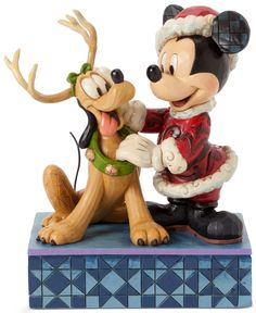 Jim Shore Disney Mickey with Reindeer Pluto Collectible Figurine Disney Christmas Ornaments, Mickey Christmas, Christmas Figurines, Christmas Art, Father Christmas, Xmas, Hades Disney, Cute Disney, Disney Mickey