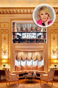 Take A Look Inside Joan Rivers' Luxury New York Apartment, Featuring Gold Columns, Crystal Chandeliers. And A Lot Of Jokes Apartments For Sale, Luxury Apartments, Luxury Homes, Luxury Penthouse, Mansions Homes, Joan Rivers, Classic Interior, Celebrity Houses, Pent House