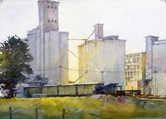 "Grain Elevators #1 Study by Richard Sneary Watercolor ~ 10"" x 14"""