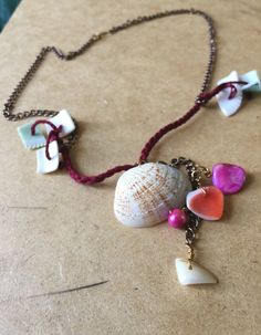 Sea shells and pearls necklace by SunsetCrafts on Etsy