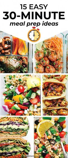 Healthy Meals For Kids Easy meal prep ideas for the week ready in less than 30 minutes! You can these meal prep recipes ready on a Sunday, and be set for the week! Plus meal prep tips to get you started with weekly meal prep. Easy Healthy Meal Prep, Easy Healthy Recipes, Lunch Recipes, Dinner Recipes, Easy Meals, Cheap Meals, Yummy Recipes, Simple Meals, Healthy Snacks