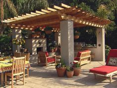 Outdoor dining with pergola, in a secluded corner