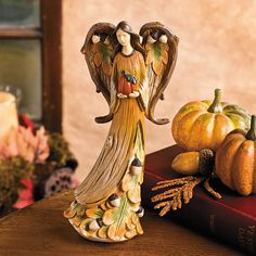 Harvest Angel with Pumpkin - TerrysVillage.com