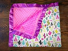Cactus teepee girl baby blanket by TheRanchBoutiqueND on Etsy