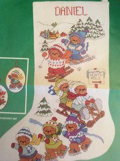 Winter Fun Christmas Stocking Cross Stitch Kit Rigg Bears Ice Skating Sledding #Dimensions #Stocking