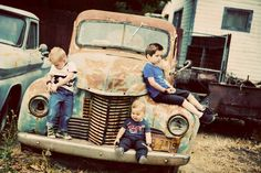 Little Boys on a Rusty Old Truck