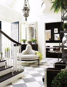 bLACK AND white foyer - the enchanted home blog...love it