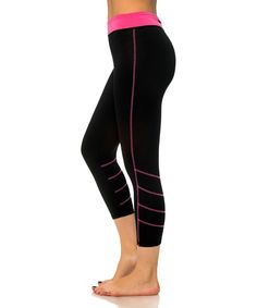 Loving this S2 Sportswear Black & Pink Decorative Stitch Capri Leggings on #zulily! #zulilyfinds