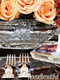 Roses and silver table setting