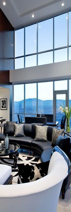 Kuda Photography. Fabulous, vaulted, contemporary living room with a view!