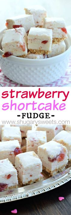Strawberry Shortcake Fudge: a sweet fudge with a cookie crust, and strawberry preserves swirled into a creamy white chocolate fudge! by ola Fudge Recipes, Candy Recipes, Dessert Recipes, Just Desserts, Delicious Desserts, Yummy Food, Strawberry Shortcake, Strawberry Preserves, Yummy Treats