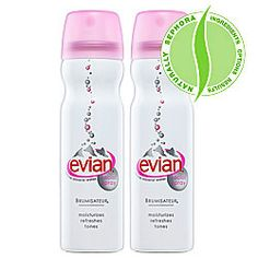 Evian Mineral Water Spray Duo To Go. This spray is amazing on a hot day or on an airplane. It cools you off with a slight water mist without affecting your make up.