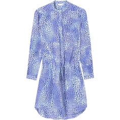 Rebecca Taylor Leopard Fever Shirtdress ($159) ❤ liked on Polyvore featuring dresses, blue crush, long shirt dress, pattern dress, silk dress, blue leopard dress and leopard dress