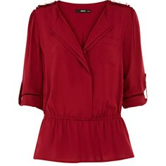 OASIS Peplum Viscose Shirt ($56) ❤ liked on Polyvore